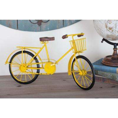 10 in. x 19 in. Vintage Iron Bicycle Decorative Sculpture in Yellow