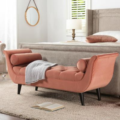 Alma Orange Tufted Flared Arm Entryway Bench
