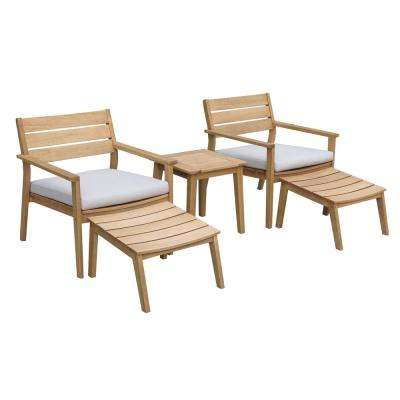 Byron Natural 5-Piece Wooden Patio Conversation Set with Beige Cushions
