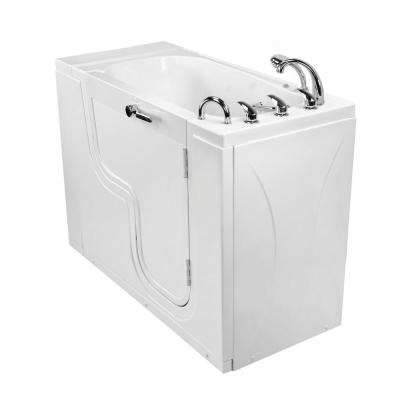 Wheelchair Transfer26 52 in. Acrylic Walk-In MicroBubble Air Bath Bathtub in White with Faucet Set, RHS 2 in. Dual Drain