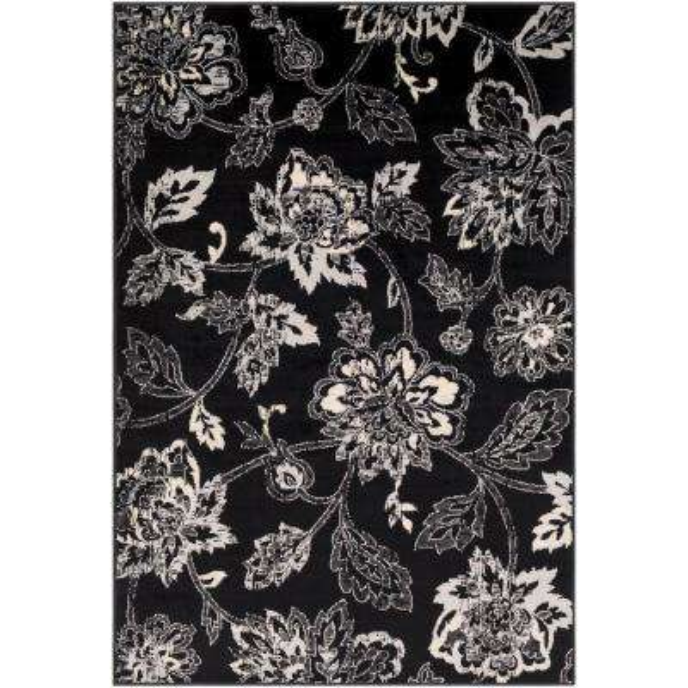 Sora Black 7 ft. 9 in. x 11 ft. 2 in. Floral Area Rug