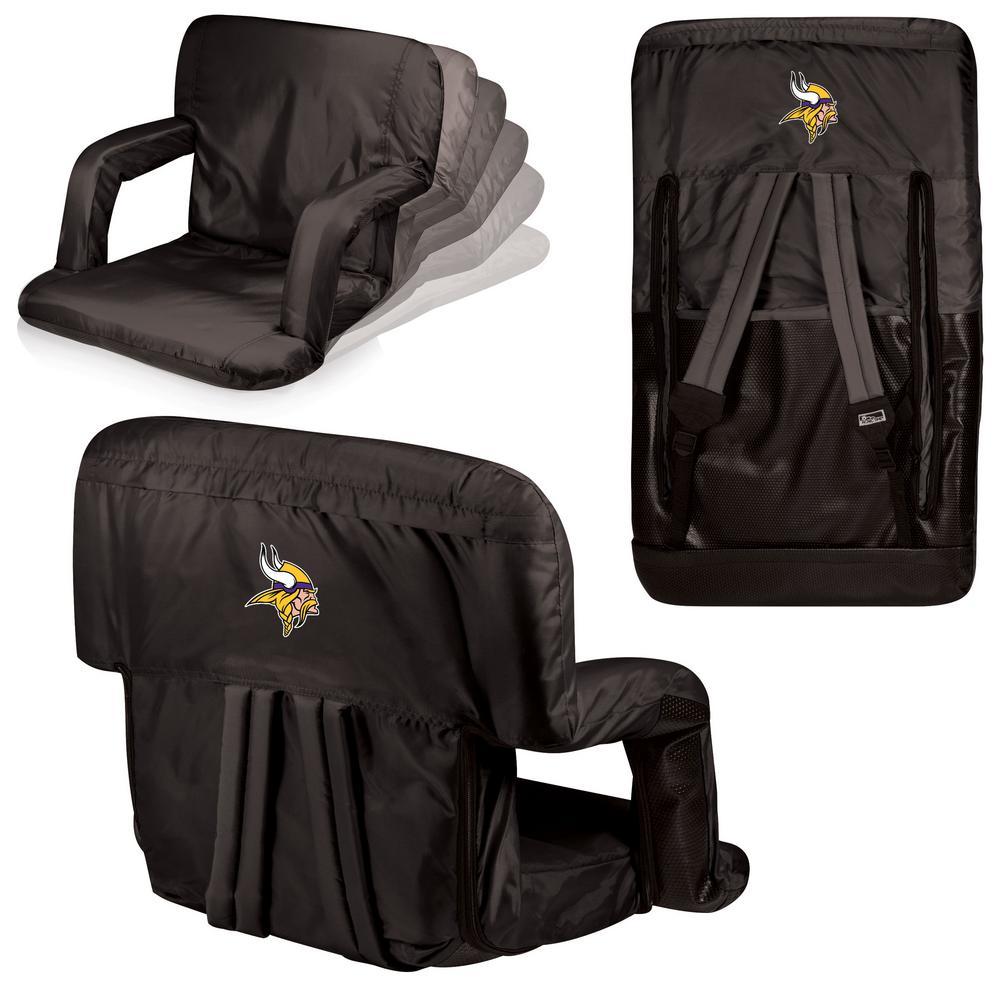 Picnic Time Ventura Minnesota Vikings Black Patio Sports Chair with Digital Logo