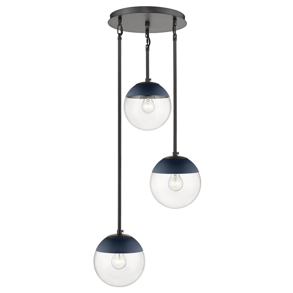 Golden Lighting Dixon 3-Light Pendant in Black with Clear Glass and Navy Cap