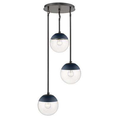 Dixon 3-Light Pendant in Black with Clear Glass and Navy Cap