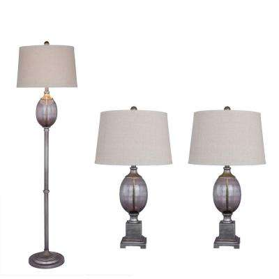Antique Dark Silver Metal and Smoke Grey Seeded Glass Lamp Set (3-Piece)