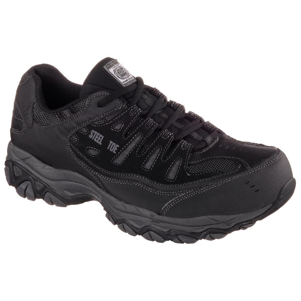 Skechers Men's Crankton 6'' Work Boots Steel Toe Black Charcoal Size 8(W)