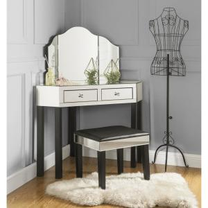 Inspired Home Black Vanity Tables With Trifold Mirror Jf97