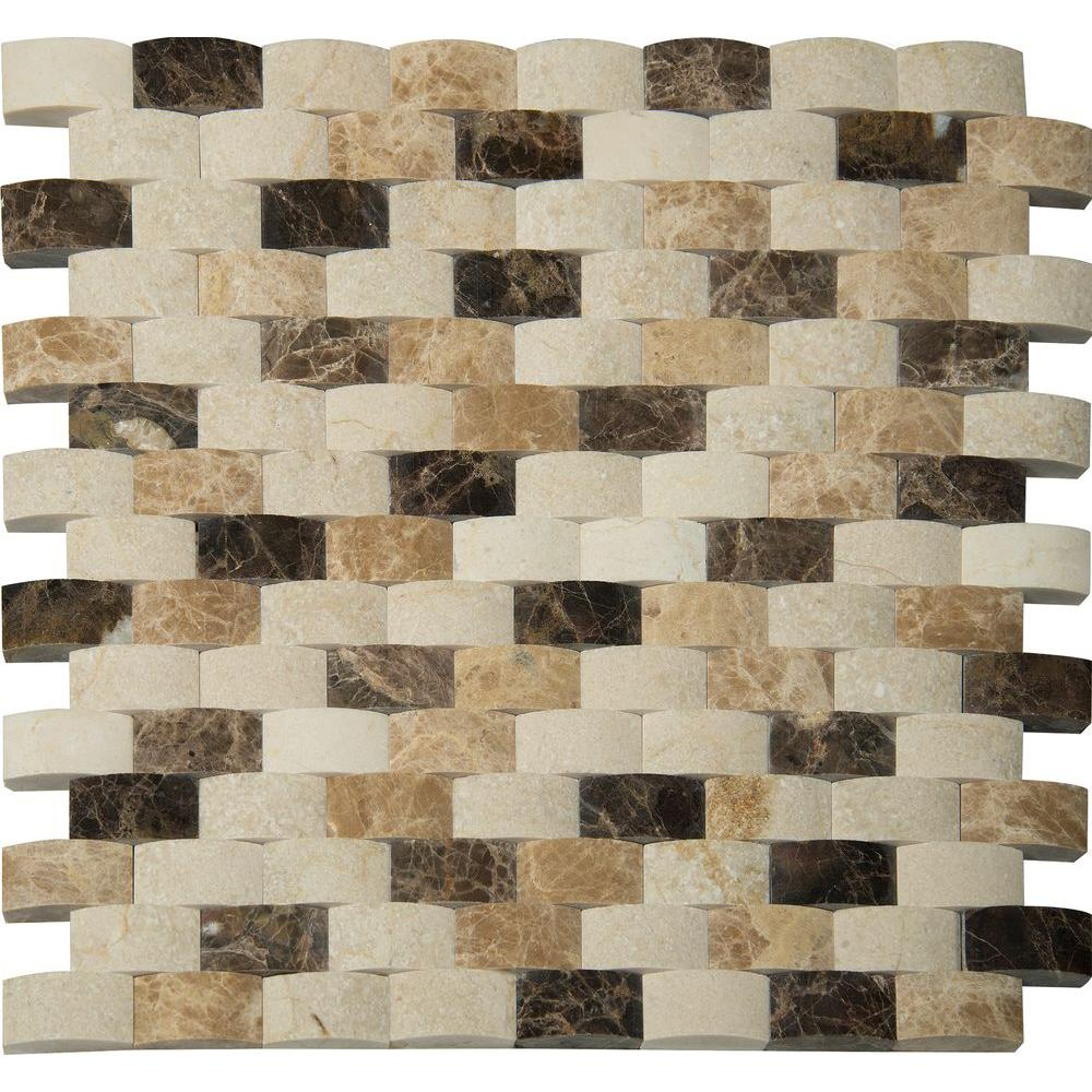 MSI Emperador Blend Arched 12 in. x 12 in. x 10mm Polished Marble Mesh-Mounted Mosaic Wall Tile