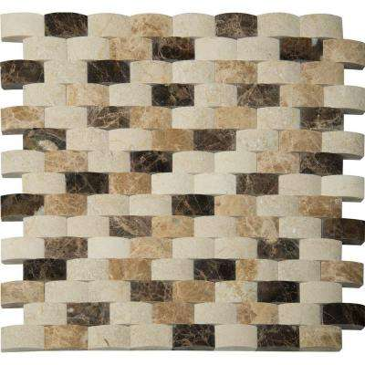 Emperador Blend Arched 12 in. x 12 in. x 10mm Polished Marble Mesh-Mounted Mosaic Wall Tile (1 sq. ft.)