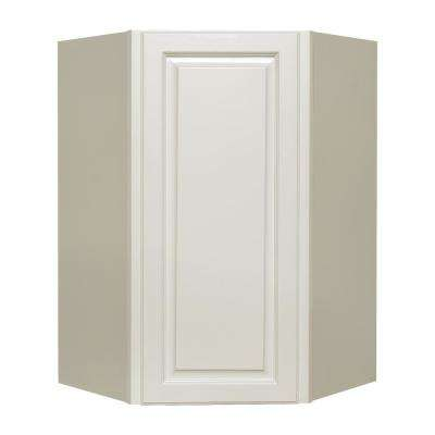La. Newport Assembled 24x36x12 in. 1-Door Wall Diagonal Corner Cabinet with 2-Shelves in Classic White