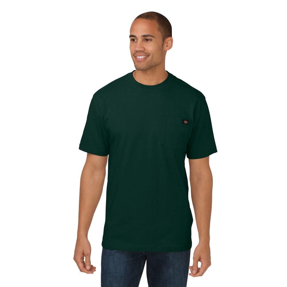 Dickies Mens Medium Hunter Green Heavy Weight Crew Neck T Shirt