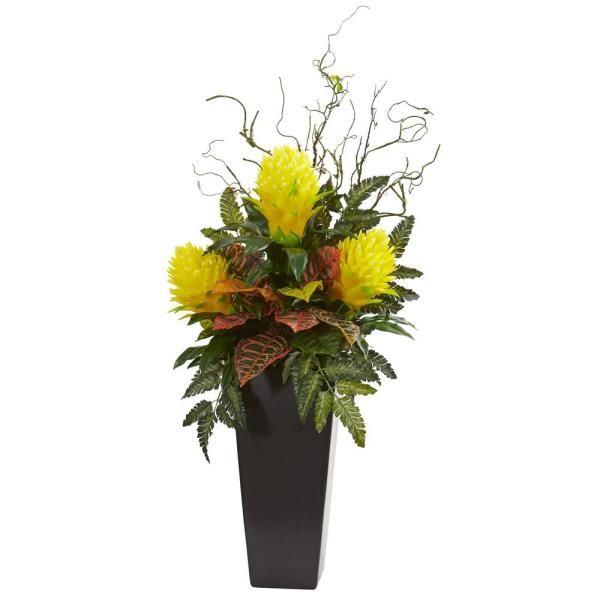 Nearly Natural Indoor 42 Bromeliad and Croton artificial Plant in Black