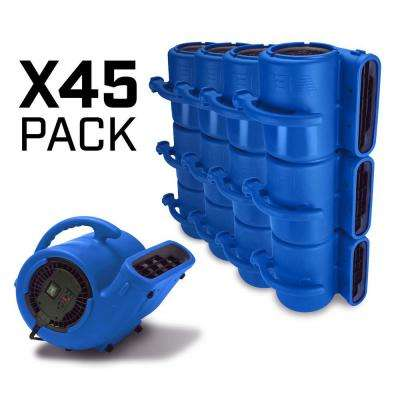 1/3 HP Air Mover for Water Damage Restoration Carpet Dryer Janitorial Floor Blower Fan Blue (45-Pack)