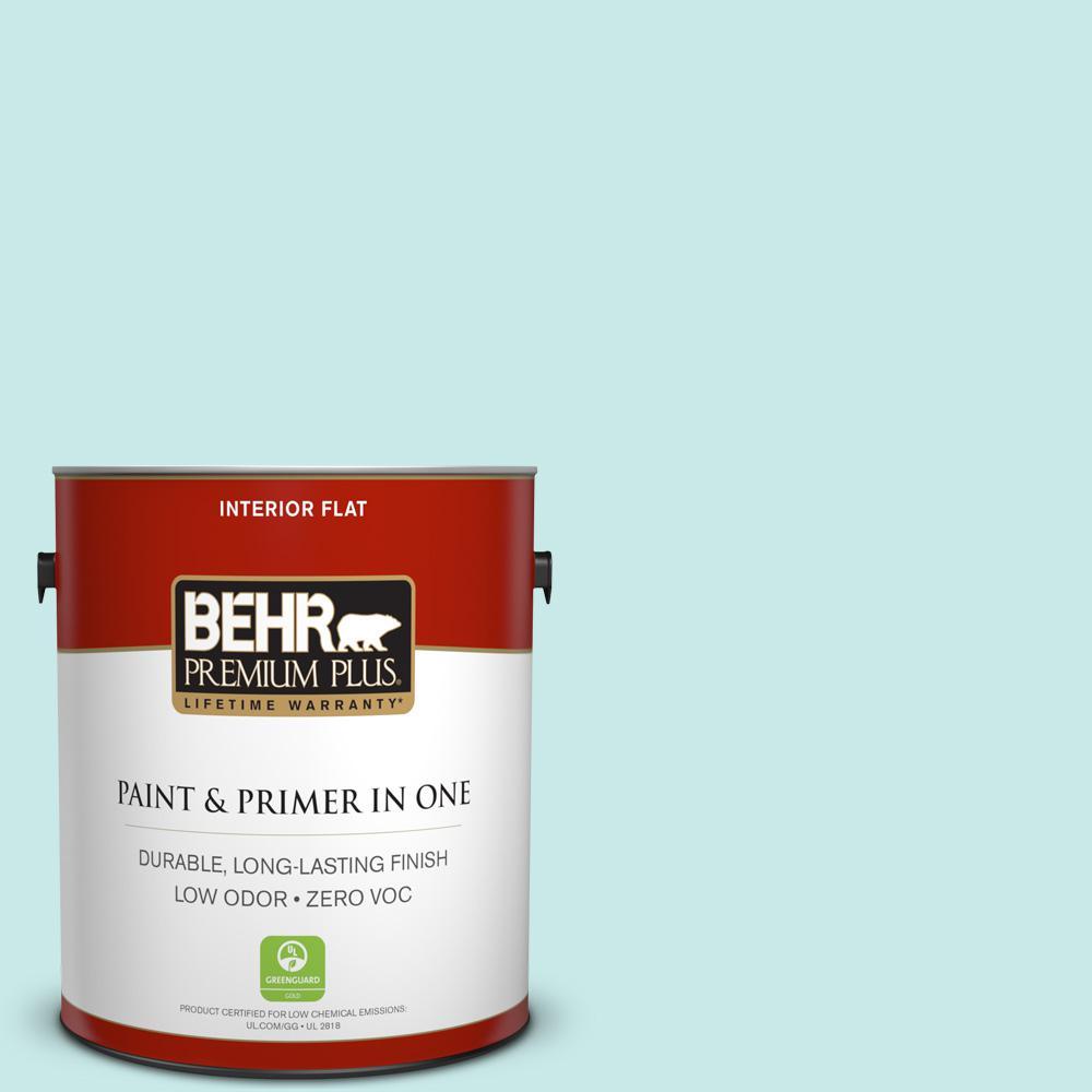 BEHR Premium Plus 1-gal. #M460-1 Tahitian Sky Flat Interior Paint, Turquoises/Aquas