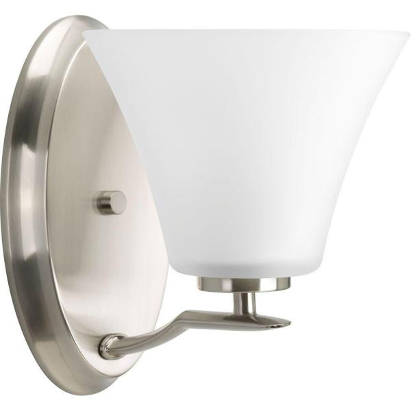 Bravo Collection 1-Light Brushed Nickel Bath Sconce with Etched Glass Shade