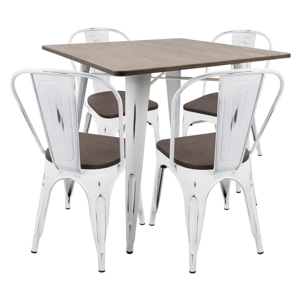 Lumisource Oregon 5 Piece Vintage White And Espresso Dining Set