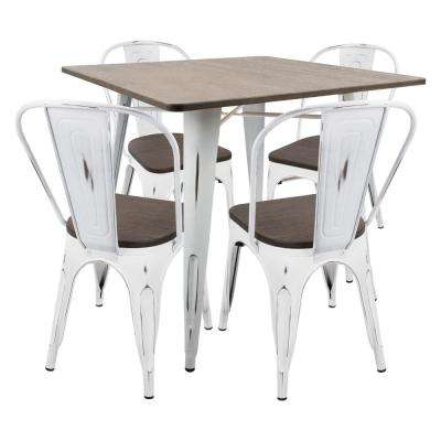 Oregon 5-Piece Vintage White and Espresso Dining Set