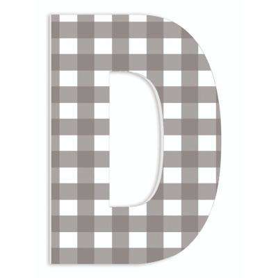 """12 in. x 18 in. """"Farmhouse Gingham Patterned Initial D"""" by Artist Daphne Polselli Wood Wall Art"""