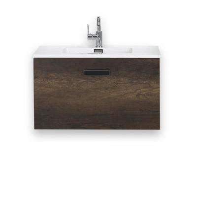 31.5 in. W x 18.1 in. H Bath Vanity in Brown with Resin Vanity Top in White with White Basin