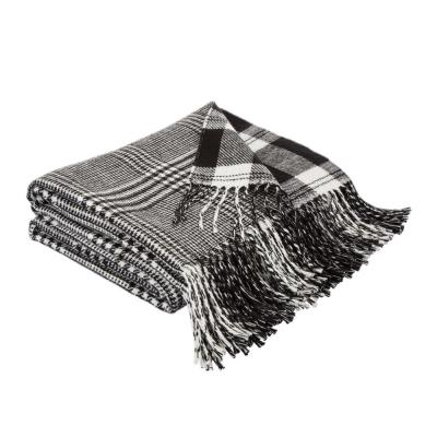 60 in. L Acrylic Reversible Black/White Plaid Woven Throw