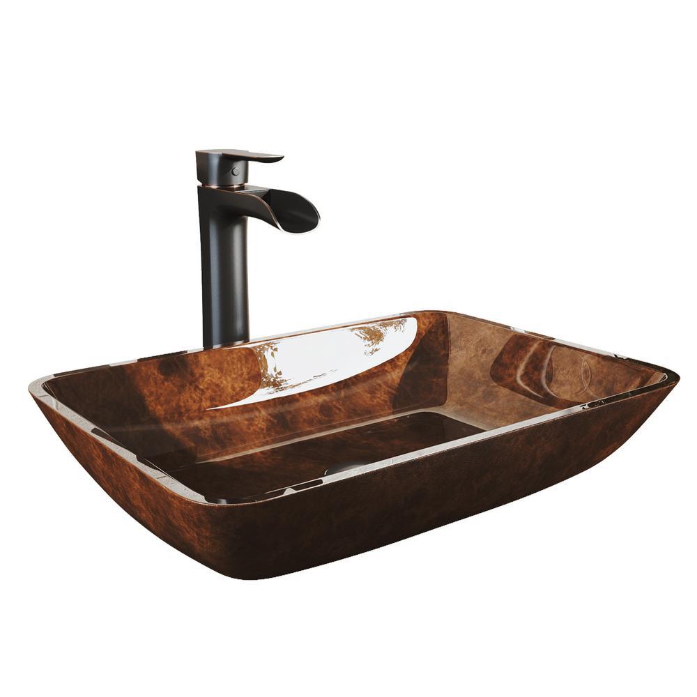 Rectangular Russet Glass Vessel Bathroom Sink Set with Niko Vessel Faucet in Antique Rubbed Bronze