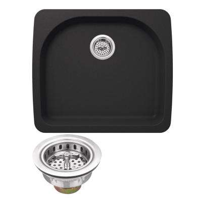 Drop-in Granite Composite 22 in. 2-Hole Kitchen Sink in Black Onyx