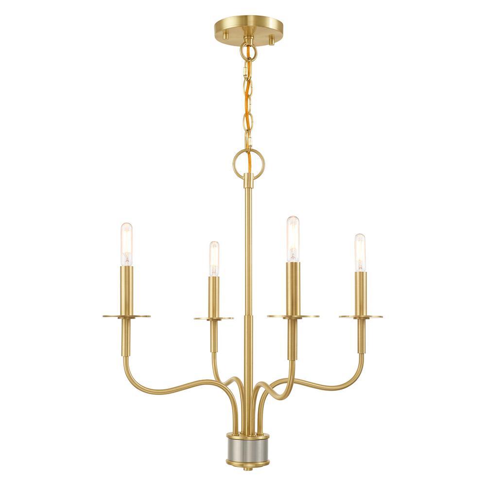Lisbon 4-Light Satin Brass Mini Chandelier