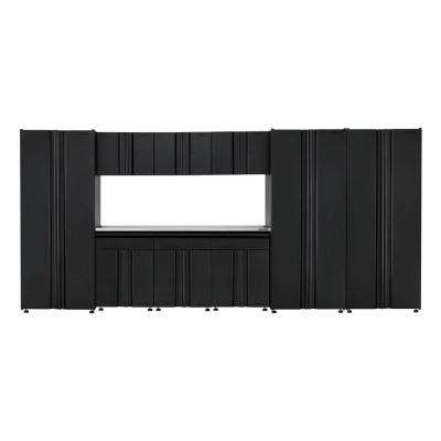 Welded 163 in. W x 75 in. H x 19 in. D Steel Garage Cabinet Set in Black (10-Piece with Stainless Steel Work Surface)