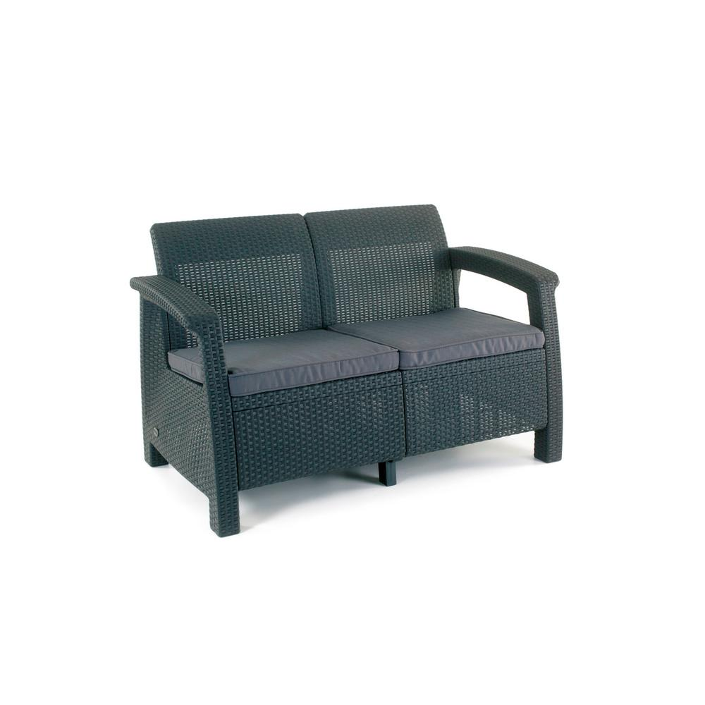 Keter Corfu Charcoal All Weather Resin Patio Loveseat With Grey Cushion 205069 The Home Depot