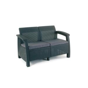 Keter Corfu Charcoal All-Weather Resin Patio Loveseat with Grey Cushion by Keter