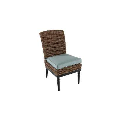 Camden Light Brown Wicker Outdoor Armless Dining Chair with Sunbrella Canvas Spa Cushion (2-Pack)