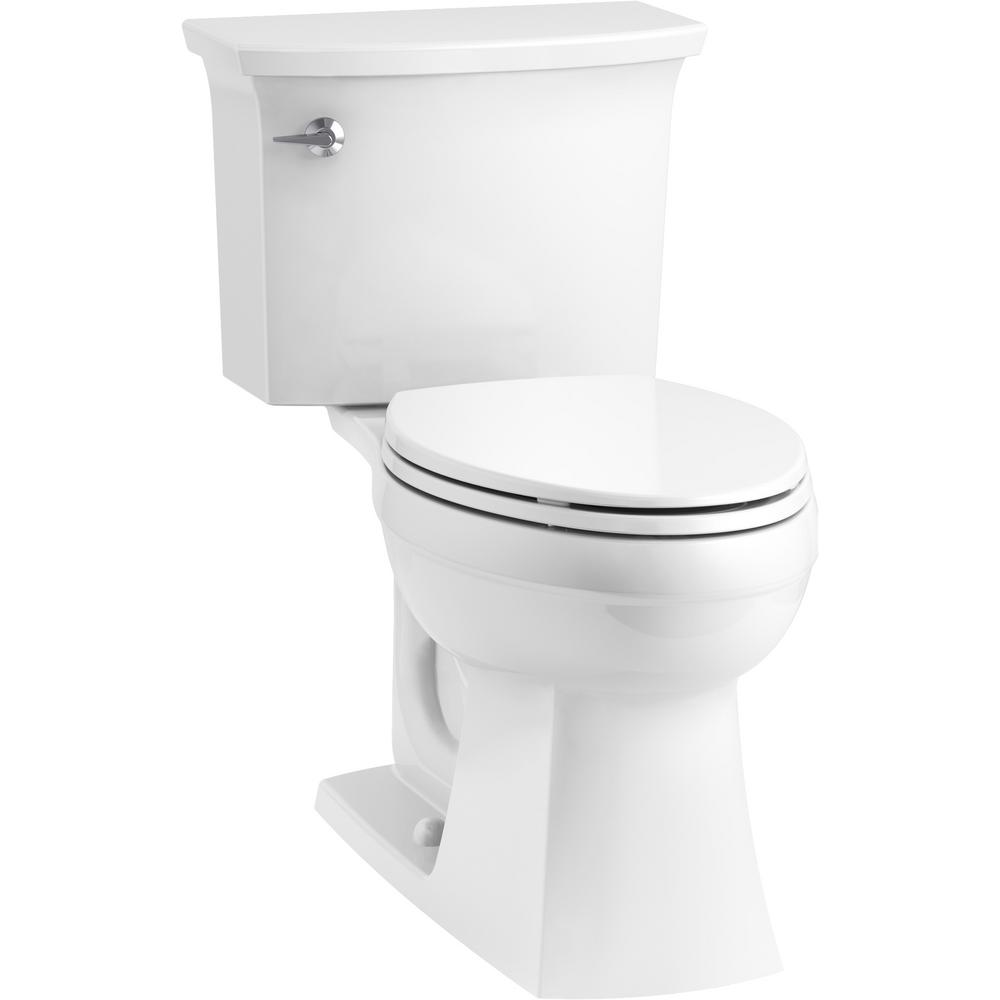 KOHLER Elmbrook The Complete Solution 2-Piece 1.28 GPF Single Flush Elongated Toilet in White, Seat Included