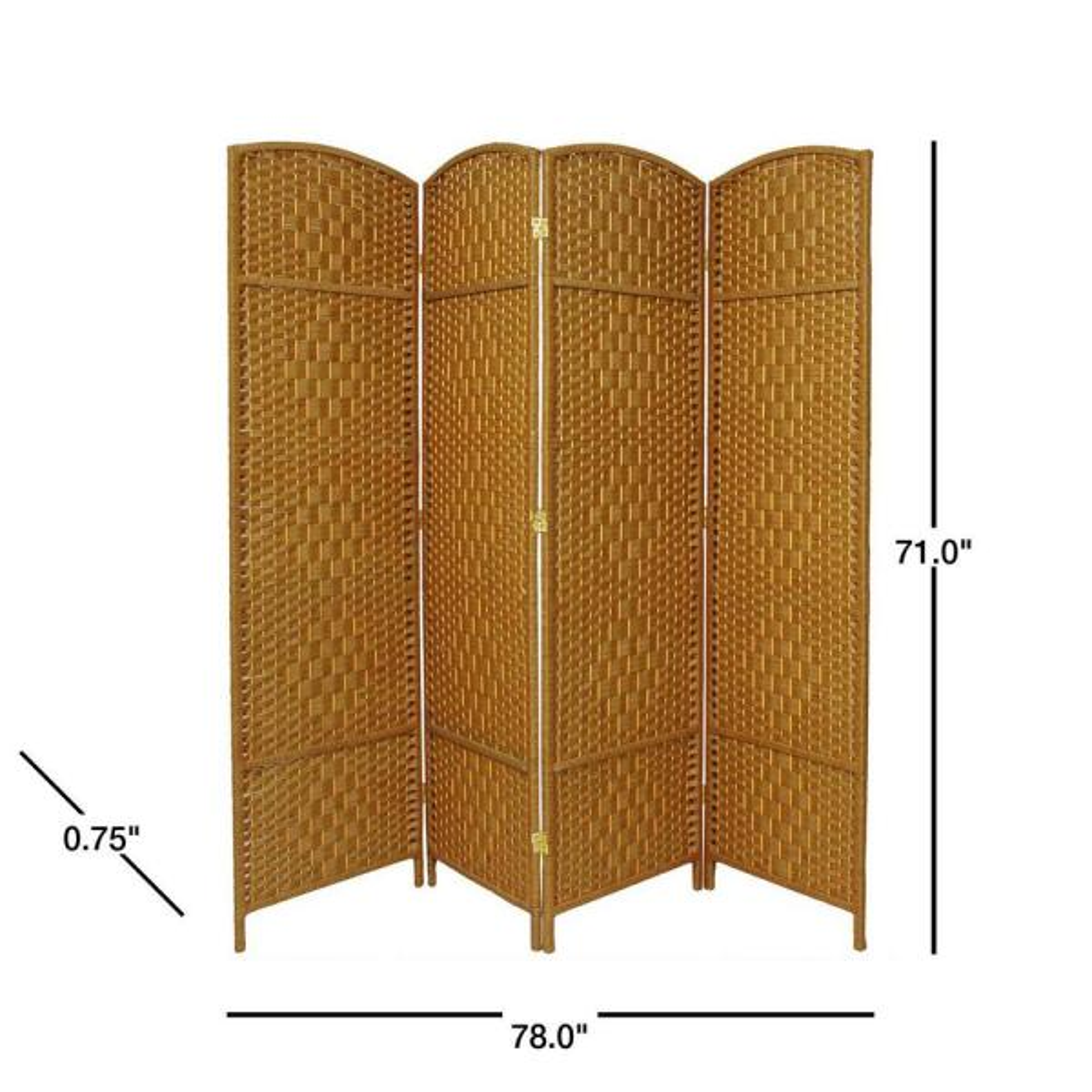 Oriental Furniture 6 Ft Light Beige 4 Panel Room Divider Fbopdmnd4plbg The Home Depot