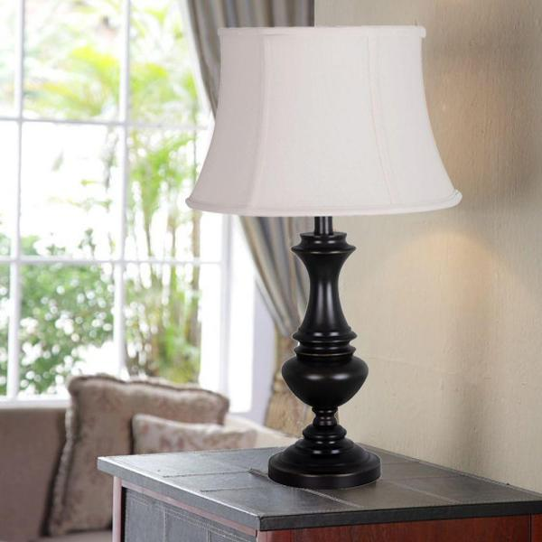 Hampton Bay Candler 25 75 In Oil Rubbed Bronze Table Lamp With Bell Shaped Cream Shade 18823 000 The Home Depot