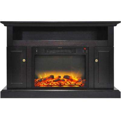 Sorrento 47 in. Electric Fireplace with an Enhanced Log Display and Entertainment Stand in Black Coffee