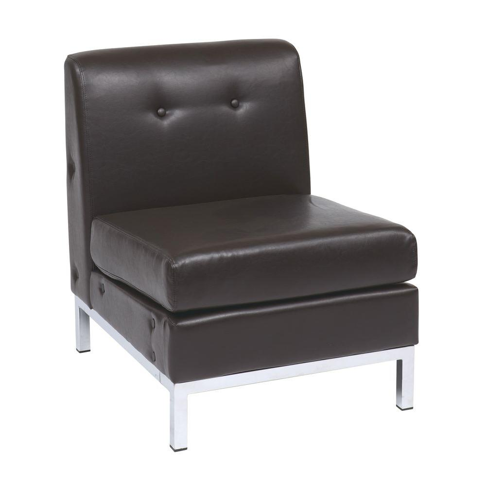 Ave Six Wall Street Espresso Faux Leather Accent Chair