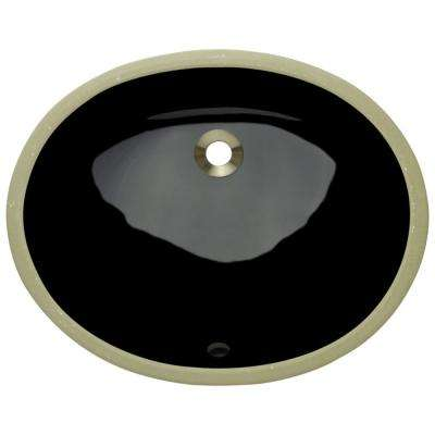 Undermount Porcelain Bathroom Sink in Black