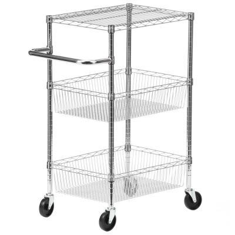 3-Shelf Chrome Rolling Cart