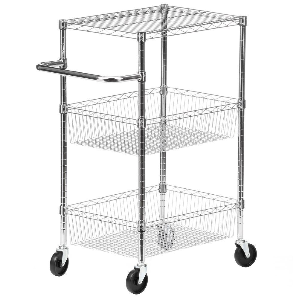 3-Tier Steel Wire Heavy Duty Rolling Storage Cart in Chrome