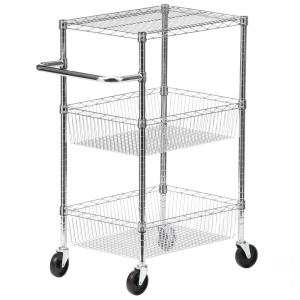 Honey-Can-Do 3-Tier Steel Wire Heavy Duty Rolling Storage Cart in Chrome by Honey-Can-Do