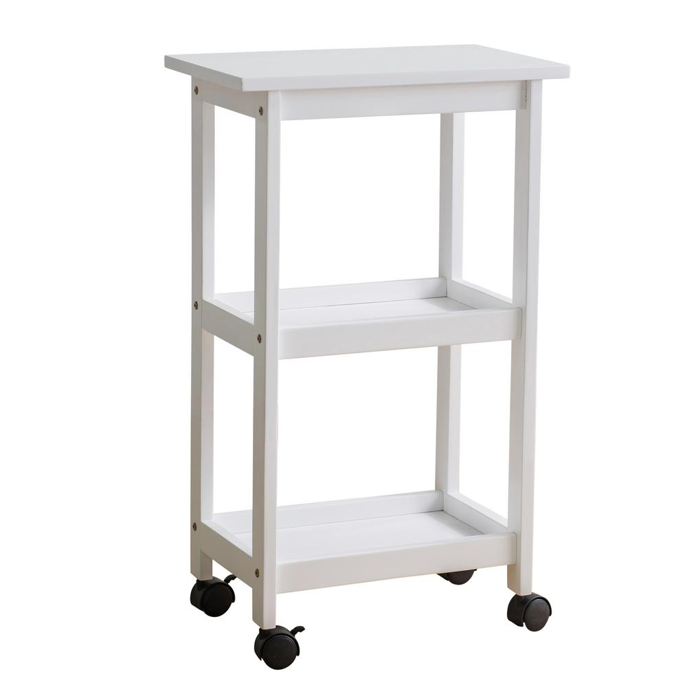 West End White Kitchen Cart, Glossy White The West End Kitchen Cart is the idyllic piece of furniture that your kitchen craves for. This solid hardwood shelving trolley is composed of three firm and well-structured racks to help ease your kitchen stowing dilemma. The top tier rack easily accommodates large kitchen appliances or apparatus to help aid in your cooking or baking needs. You can utilize the last 2-ledges for storing supermarket items, kitchen tools or just some pantry knick-knacks. The white varnished finish of the West End Kitchen Cart enhances your kitchen space to give a modern and compact feel, seamlessly fitting into most kitchen interior styles. With its easy assembly features, this movable storage trolley helps you to de-clutter your kitchen in a speedy and fashionable way. Color: Glossy White.