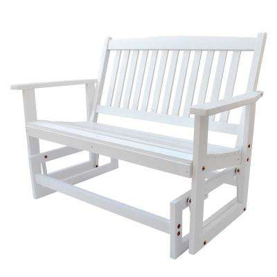 Torrey Outdoor Wood Glider Loveseat Bench 46 in. White