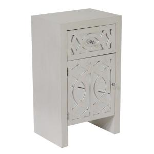 Shelly Assembled 18 in. x 18 in. x 13 in. Antique White Wood Raised Accent Storage Cabinet with Mirrored Glass Door