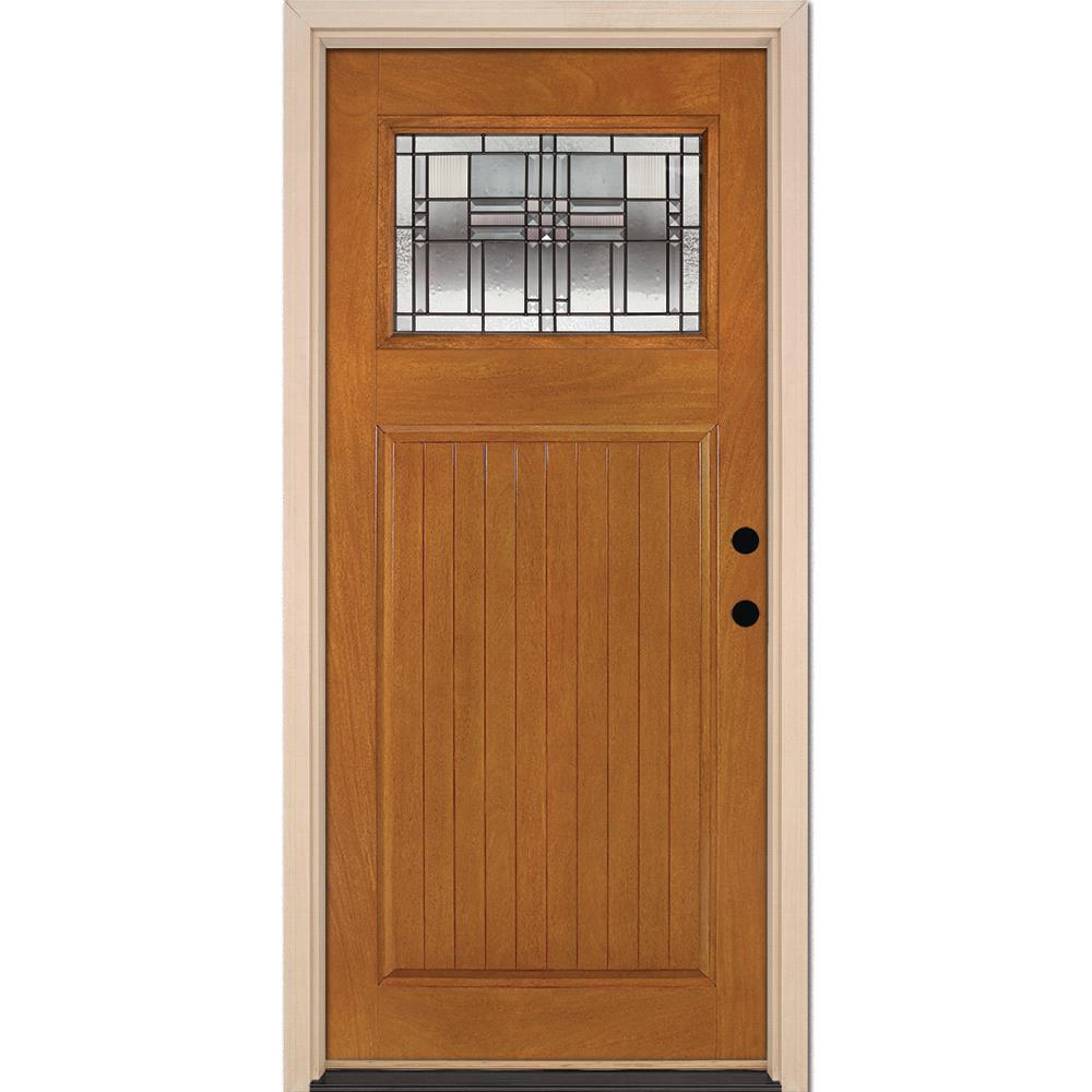 37.5 in. x 81.625 in. Monroe Patina Craftsman Stained Honey Mahogany