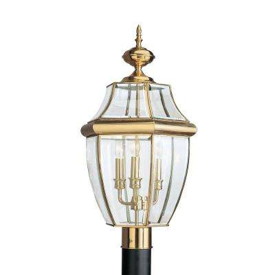 Brass gold energy star transitional post lighting outdoor lancaster 3 light outdoor polished brass post light aloadofball Gallery