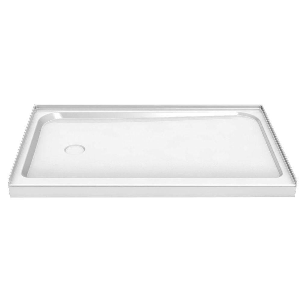 MAAX 60 in. x 30 in. Single Threshold Shower Base with Left Drain in White