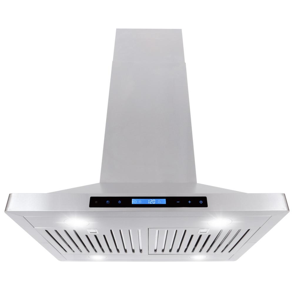 30 in. 760 CFM Ducted Island Range Hood with LED Lighting