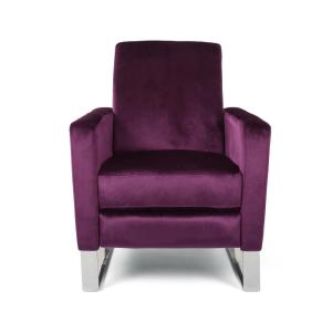 Brightwood Eggplant and Silver Velvet Push Back Recliner