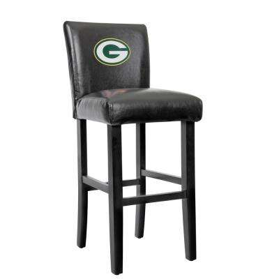 Green Bay Packers 30 in. Black Bar Stool with Faux Leather Cover (Set of 2)