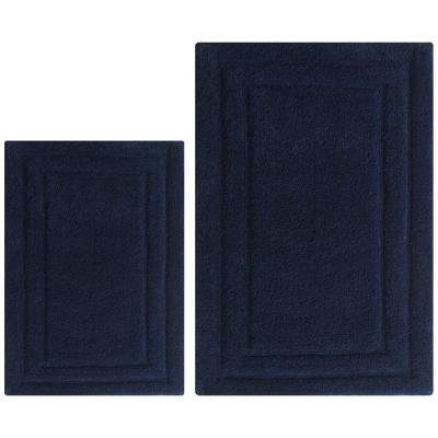 Classic Navy 21 in. x 34 in. Bath Rug (Set of 2)